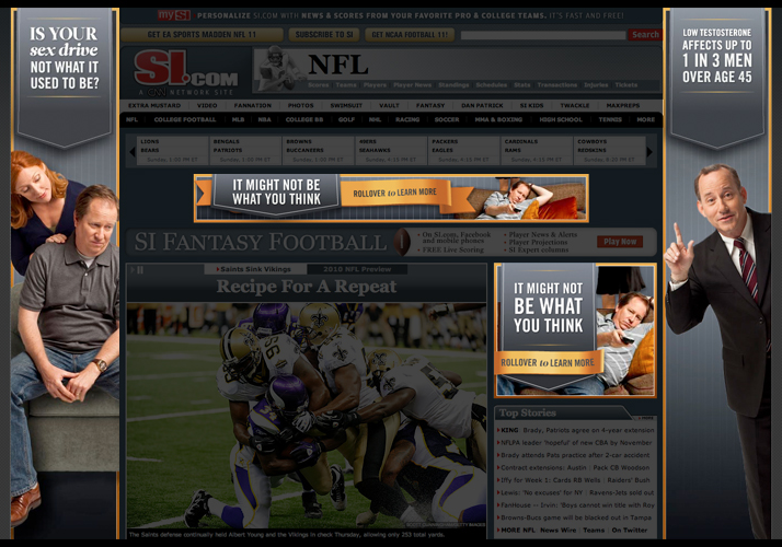 Banner ads on SportsIllustrated.com